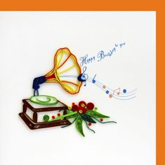 Birthday card with quilled gramophone on front