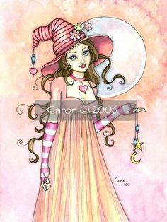 Deana Darling by Caron Vinson, art girl, Halloween witch, romantic illustration