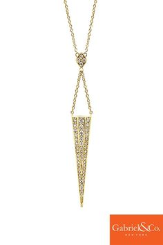 A daring design for fall! Get this 14k Yellow Gold Diamond Fashion Necklace by Gabriel and Co. for an edgy look. Check out more styles at www.gabrielny.com