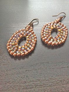 Handmade beaded earring golden brown drop earring  Free by fatash1