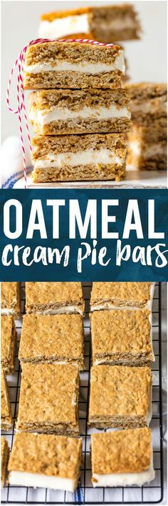 These OATMEAL CREAM PIE BARS are an adult version of a childhood favorite. They're a tasty dream come true perfect for showing your loved ones on Valentine's Day just how special they are. Layer of homemade marshmallow cream icing sandwiched between two perfectly chewy oatmeal cookies, all in bar form! OBSESSED! #cookies #marshmallow #bake #valentinesday via @beckygallhardin #thecookierookie