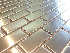 edelstahlmosaik mosaik metall effekt fliese silber gebrstet matt glnzend - Schwarzweimosaikfliese Backsplash