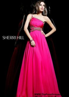 2015 Fuchsia Sherri Hill 1537 Long Beaded Waist Prom Gown