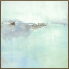 Beautiful grays and satiny blues intertwine to form Serenity, a soothing abstract piece. Set in a thin gold frame. Gallery wrapped canvas. Artist enhanced.