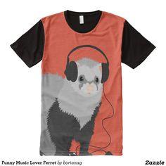 Funny Music Lover Ferret All-Over Print T-shirt