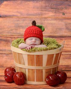 Newborn Apple Hat by WillowsGarden on Etsy, $22.00