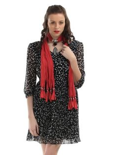 Women Red Jewel Pendent Scarf. Starting at $5 on Tophatter.com!