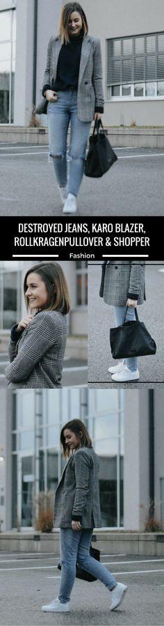 Destroyed Jeans, Karo Blazer, Rollkragenpullover & Shopper kombinieren, Look, Outfit, Fashion Blog, Modeblog, Outfit Blog, Streetstyle, Outfit Blog, Modeblog, Fashion Blog, Fashion Blogger