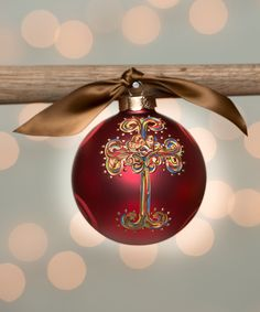 Another great find on #zulily! Red Curly Cross Glass Ornament by Glory Haus #zulilyfinds