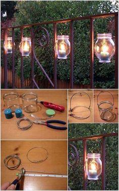 Diy garden lighting ideas hang these mason jar luminaries on the railing diy outdoor solar lighting Backyard Lighting, Deck Lighting, Landscape Lighting, Lighting Ideas, Lighting Design, Diy Lampe, Outdoor Light Fixtures, Led Fixtures, Solar Lights