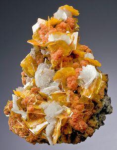 Wulfenite with orange Mimetite and white Barite blades. From the San Francisco Mine, Cerro Prieto, Cucurpe, Mun. de Cucurpe, Sonora, Mexico. Measures 11 cm by 8 cm by 6.4 cm in total size.