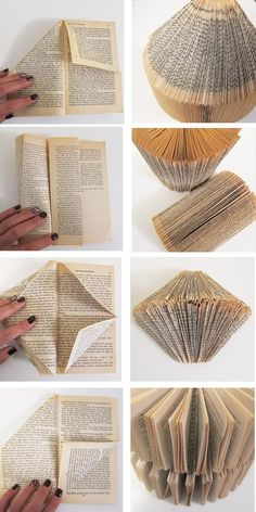 Some great directions for how to fold to create cool book art! gilbertrecycles.org pinterest.com/gilbertDIY