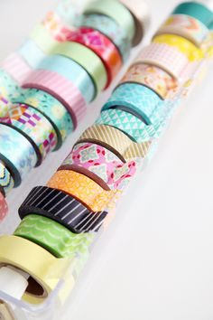 Fabulous tutorial on how to make a DIY Washi Tape Organizer / Dispenser by iHeart Organizing