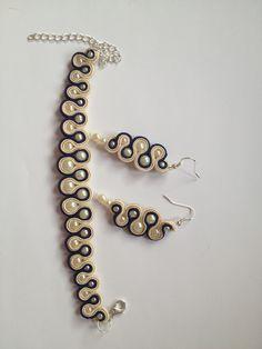 bracelet et boucles - beige and garnet #earrings and bracelet #soutache