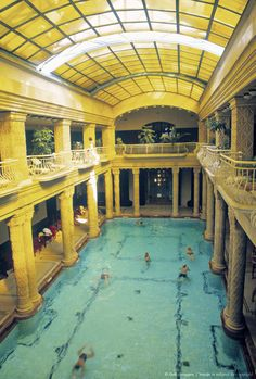 Gellert Spa , Budapest , Hungary. It looks so calming and peaceful!