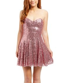 Love this Pink Sequin Strapless Dress by Lucca Couture on #zulily! #zulilyfinds