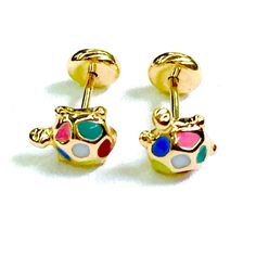 Turtle Earrings Screw back Studs  18Kts of Gold Plated Multi-Color enamel