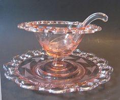 pink depression glass punch bowl
