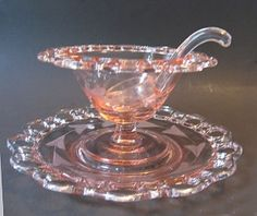 Pink Depression Glass by Lancaster Glass.  Three piece open lace edge mayo set.
