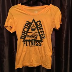 Bacon Coffee Fitness Crossfit Rokfit Yellow and black. Bacon coffee fitness funny tee. Washed never worn Rokfit Tops Tees - Short Sleeve