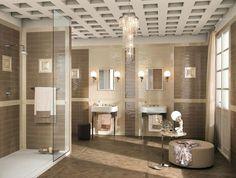 carrelage salle de bains avec ottoman rond