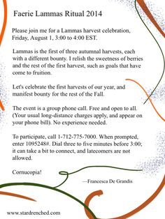 2014 Faerie Lammas Ritual, free and open to all. Celebrate harvest! Manifest more harvests!