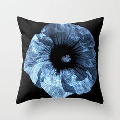 Pseudo Pompous Fleurs - Margeurite's Blue Throw Pillow by Pseudo Pompous  - $20.00
