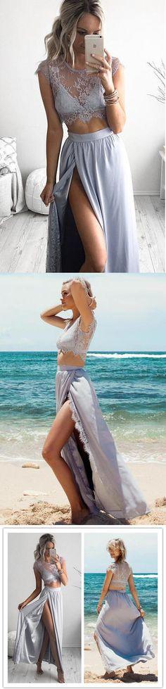 Popular long cheap lace cap sleeve sexy two piece summer dress #promdress #dress #twopiecedress #lacedress #summerdress #beachdress