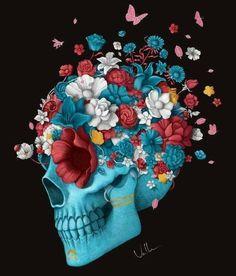 #skulls #flowers