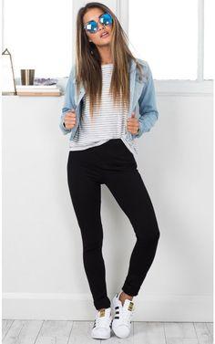 Fashion Killa jacket in light wash denim SHOWPO Fashion Online Shopping Outfit Jeans, Vans Outfit, Outfit Ideas With Leggings, Denim Jacket Outfits, Adidas Jacket Outfit, Black Leggings Outfit Summer, Denim Jacket Outfit Winter, Light Blue Jeans Outfit, Leggings Shoes