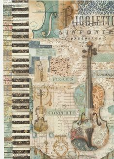 """Rigoletto Violin"" Rice Paper (in blues); for decoupage - by Stampetia"