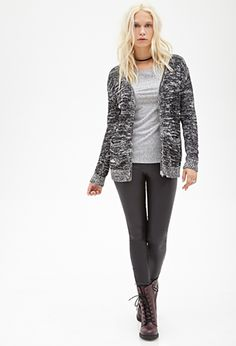 Marled Knit Zippered Cardigan | FOREVER21 - 2052297641