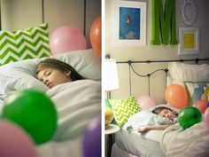 Fun birthday tradition!  Fill birthday kiddo's bed with balloons before they wake up.  Awesome.