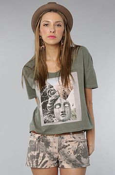 $30 The Stone Goddess Vintage Crop Tee in Dusty Army by Obey on #karmaloop -- Use repcode SMARTCANUCKS at the checkout for 20% off your order -- http://www.lovekarmaloop.com