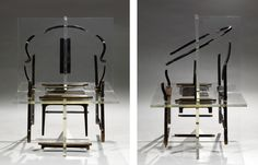 Shao Fan Project n•1 2014 Ancien fauteuil chinois emprisonné dans deux plaques de résine transparente perpendiculaire
