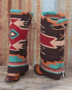 Boot rugs are designed to be worn over boot shafts, they are great for when the color of your boot shafts don't match your clothes or you want to add some variety. Substantial woven construction trimmed with whip-stitching and a leather toggle tie at the back. One size fits most   Country Chic casual fashion accessories for women Casual Outfits western wear drysdales.com #countryoutfit #countrygirl #CountryFashion gift ladies cowgirl #Winter2015