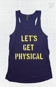 Lets Get Physical Tank Navy Blue/ Neon Yellow by everfitte on Etsy, $26.00
