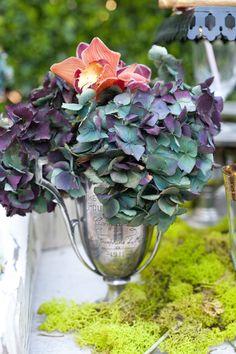 Unique color hydrangea and orchids