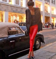 Love red leather pants