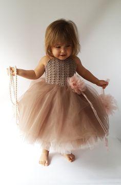 Pink and Brown Puffy Baby Girl Tutu Dress. Baby by AylinkaShop