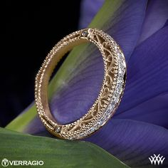 18k Rose Gold Verragio Beaded Diamond Wedding Ring from the Verragio Venetian Collection