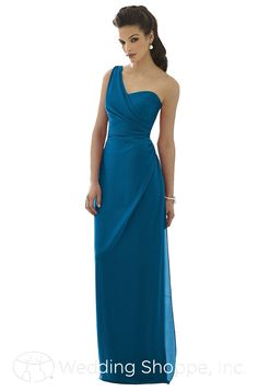 A beautiful and elegant floor length one-shoulder bridesmaid dress.