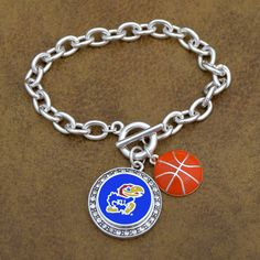 Kansas Jayhawks Enamel Basketball Toggle Bracelet with changeable snap charm $12.98 // Snap jewelry for the win!