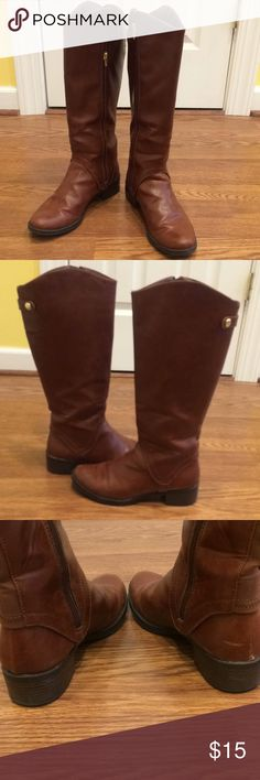 Boots Faux leather Cognac color Riding Boots, one or two scuffs but hardly noticeable. (Price reflects) Worn only one Winter. Very comfy and great with leggings, jeans or skirt! Morona Shoes Heeled Boots