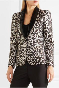 Roberto Cavalli - Sequin-trimmed Leopard-jacquard Blazer - Leopard print - IT