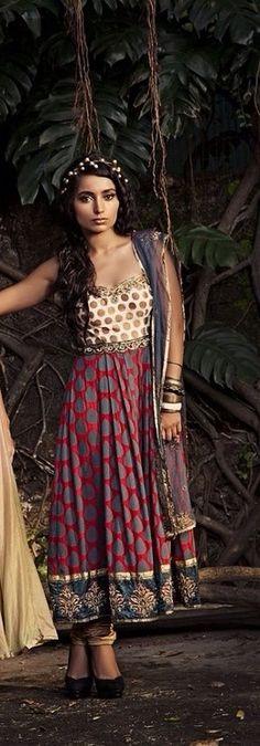 Blue, red and ivory Salwar kameez-Sapana Amin
