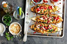 Bakłażany faszerowane komosą ryżową Quinoa, Feta Salat, Bruschetta, Vegetable Pizza, Couscous, Tacos, Vegan, Vegetables, Cooking