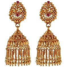 Aishwarya Ruby 22k gold fringe drop earrings ($5,670) ❤ liked on Polyvore featuring jewelry, earrings, metallic, gold ruby earrings, earring jewelry, indian gold jewelry, indian jewellery and indian gold jewellery