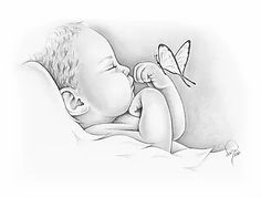 Gentle hand-drawn portraits for the pregnancy and infant loss community. Certifi… Gentle hand-drawn portraits for the pregnancy and infant loss community. Certificates of Life, Angel Baby Prints and other specialty items to honor your child. Baby Angel Tattoo, Baby Tattoos, Skull Tattoos, Foot Tattoos, Sleeve Tattoos, Angel Drawing, Baby Drawing, Pencil Art Drawings, Art Drawings Sketches