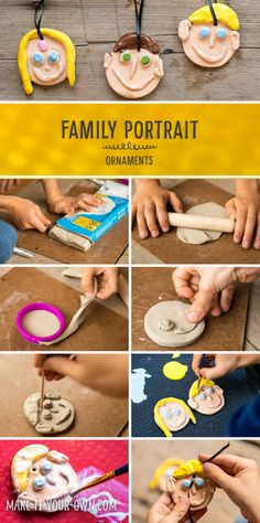 Clay Family Portrait Ornaments - Working with clay allows one to develop and strengthen hand muscles and express creativity in a three dimensional medium.  This activity gives the look of a glazed project without the use of a kiln. *What a fun kids' project! Wouldn't it make a lovely gift for Grandma and Grandpa for Christmas?